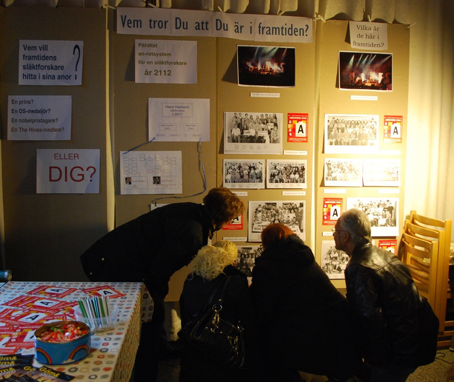 Fyra personer hukar framför en utställningsskärm för att noggrannt studera de undre fotografierna. I utställningens texter kan läsas Vem tror du att du är i framtiden?