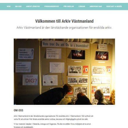 Förstasidan på Arkiv Västmanlands webbplats