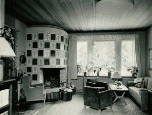 Interiör från disponent Åselius villa år 1958. Ur Fagersta bruks arkiv