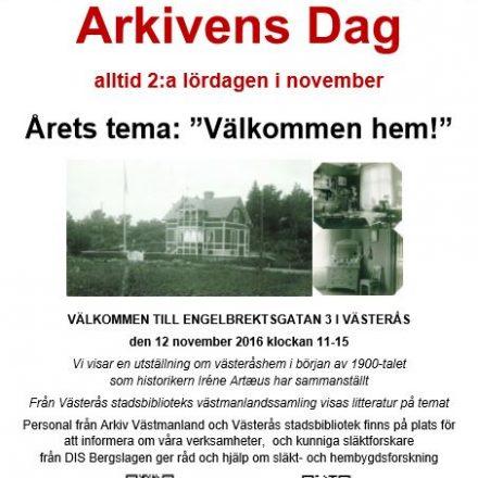 Arkivens Dag-affisch för arrangemang på Engelbrektsgatan 3 i Västerås den 12 november 2016 kl 11-15