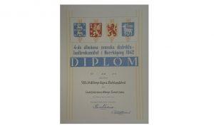 Diplom för sladdfjäderharv,1942 ur arkivet efter AB C.M. Wibergs vagns- och redskapsfabrik